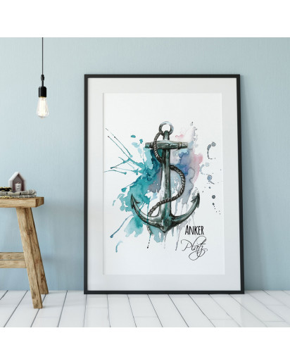 A3 Print Anker Illustration Poster Plakat Druck Ankermotiv mit Spruch Ankerplatz p82
