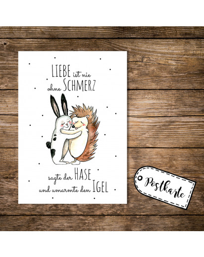 A6 Postkarte Karte Print Hase und Igel mit Spruch Liebe ist nie ohne Schmerzen sagte der Hase und umarmte den Igel A6 postcard card print rabbit hare and hedgehog with quote saying love is never without pain said the hare and embraced the hedgehog pk07