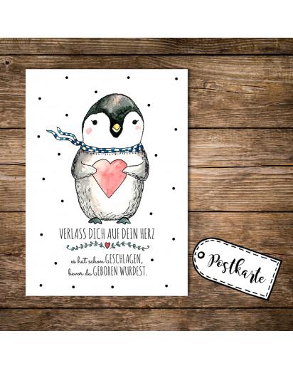 A6 Postkarte Karte Pinguin mit Herz und Spruch verlass dich auf dein Herz es hat schon geschlagen bevor du geboren wurdest A6 Postcard card print penguin with heart and quote saying rely on your heart it has already been beaten before you were born pk09