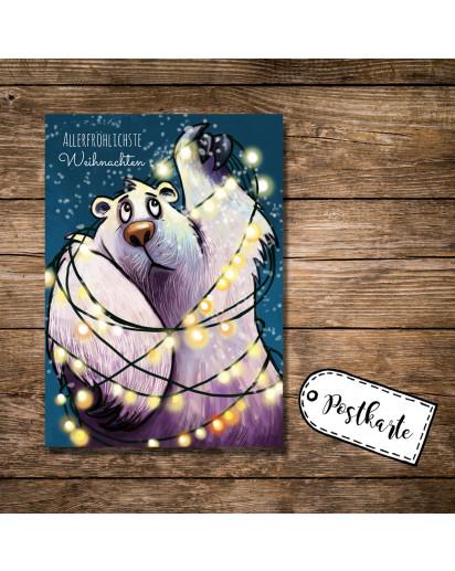 A6 Postkarte Weihnachtskarte Karte Print Eisbär mit Lichterkette Schnee und Spruch Allerfröhlichste Weihnachten A6 postcard christmas card print icebear with quote saying most cheerful christmas pk16