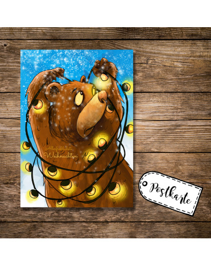 A6 Weihnachtskarte Postkarte Karte Print Braunbär mit Lichterkette Schnee und Spruch Allerfröhlichste Weihnachten A6 christmas card postcard print brown bear with holiday light snow and quote saying most cheerful christmas pk17