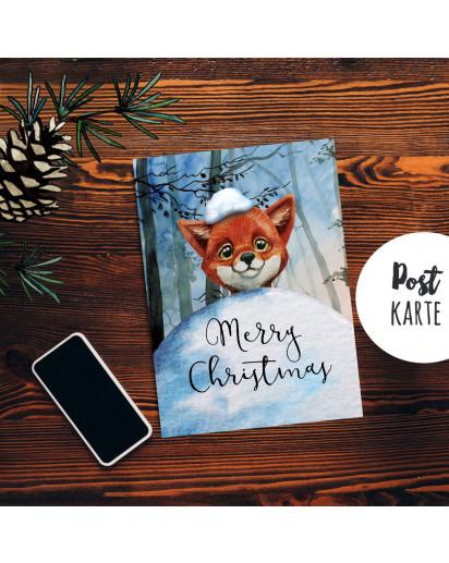 A6 Weihnachtskarte Weihnachtsgrüße Postkarte Print Fuchs mit Schnee im Winterwald Grußkarte Karte Merry Christmas pk221
