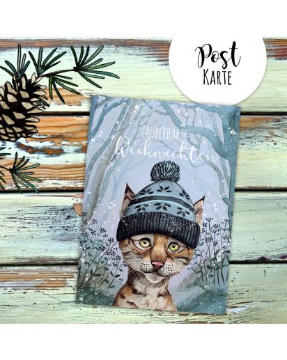 A6 Weihnachtskarte Weihnachtsgrüße Postkarte Print Luchs mit Mütze zauberhafte Weihnachten Grußkarte pk225