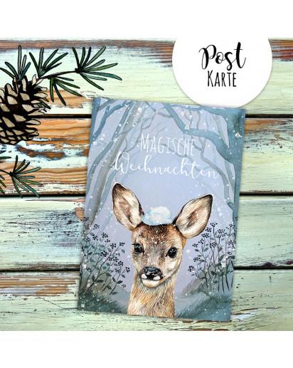 A6 Weihnachtskarte Weihnachtsgrüße Postkarte Print Reh mit Schnee im Winterwald Magische Weihnachten Grußkarte pk228