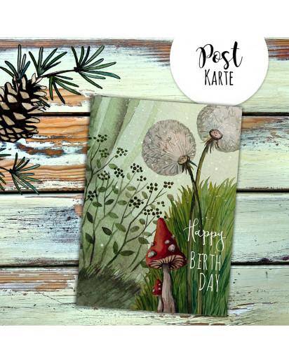 A6 Geburtstagskarte Postkarte Geburtstag Print Pusteblume Pilz im Wald mit Spruch Happy Birthday pk230