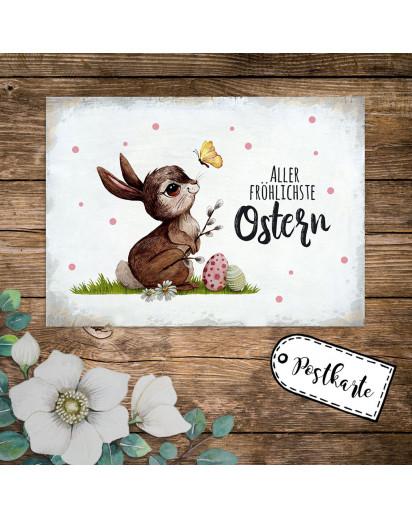A6 Grußkarte Postkarte Osterkarte Print Hase & Schmetterling mit Spruch Aller fröhlichste Ostern Punkte pk238