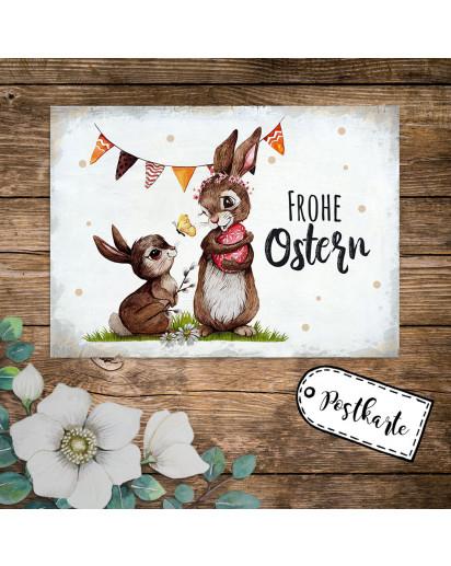 A6 Grußkarte Postkarte Osterkarte Print Hasen Häschen & Wimpel mit Spruch Frohe Ostern Punkte pk239
