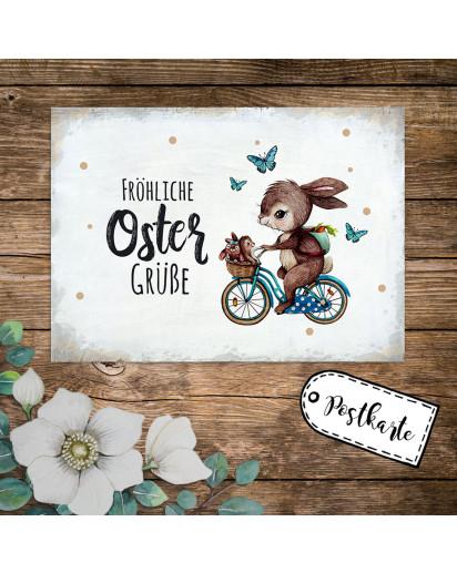 A6 Grußkarte Postkarte Osterkarte Print Hase auf Fahrrad mit Hasenkinder & Spruch Fröhliche Ostergrüße Punkte pk240