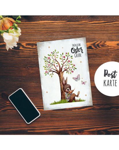 A6 Grußkarte Postkarte Osterkarte Print Hase Häschen unterm Baum Blütenbaum & Spruch Fröhliche Ostergrüße Punkte pk243
