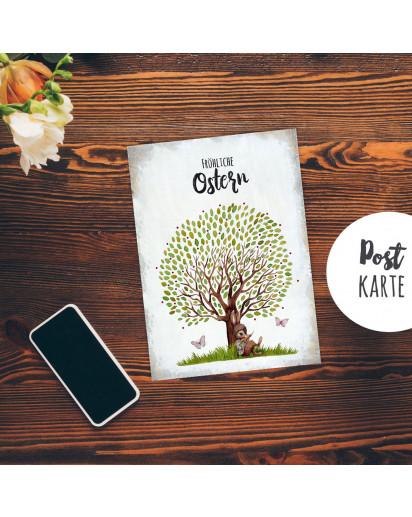 A6 Grußkarte Postkarte Osterkarte Print Hase Häschen unterm Baum Schmetterlinge & Spruch Fröhliche Ostergrüße Punkte pk244
