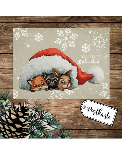 A6 Weihnachtskarte Weihnachtsgrüße Postkarte Print Tiere unter Mütze Grußkarte Wundervolle Weihnachten pk261