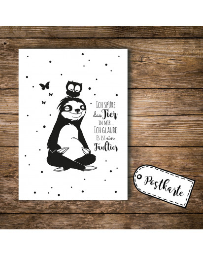 A6 Postkarte Ansichtskarte Flyer Faultier und Eule mit Spruch Ich spüre das Tier in mir A6 postcard print sloth and owl with quote saying I feel the animal inside me pk093.jpg