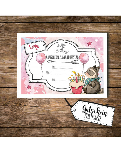 A6 Geschenkkarte Postkarte Gutschein zum Geburtstag mit Waschbär Kuchen und Luftballons A6 voucher postcard for birthday with raccoon cake and balloons pink pk095.jpg