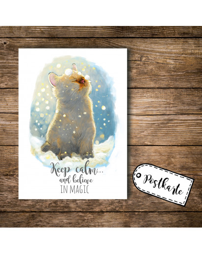 A6 Postkarte Ansichtskarte Flyer Katze im Schnee mit Spruch keep calm and believe in magic A6 postcard print cat with quote saying keep calm and believe in magic pk098.jpg