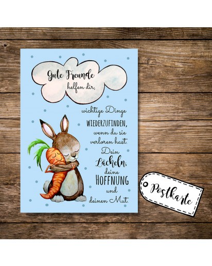 Postkarte Grußkarte Karte Print Illustration Hase und Möhre mit Spruch Zitat Sprichwort gute Freunde helfen dir postcard greeting card print illustration rabbit and carrot with quote saying good friends will help you pk88