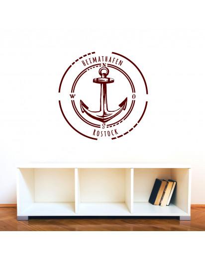 wandtattoo heimathafen rostock mit anker im kreis maritim. Black Bedroom Furniture Sets. Home Design Ideas