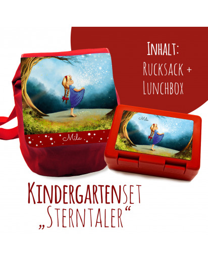 Schulset Kinderrucksack und Lunchbox mit Märchen Sterntaler Mädchen im Wald mit Wunschnamen School set children backpack and lunchbox with fairytale the star money girl in the forest with desired name S1