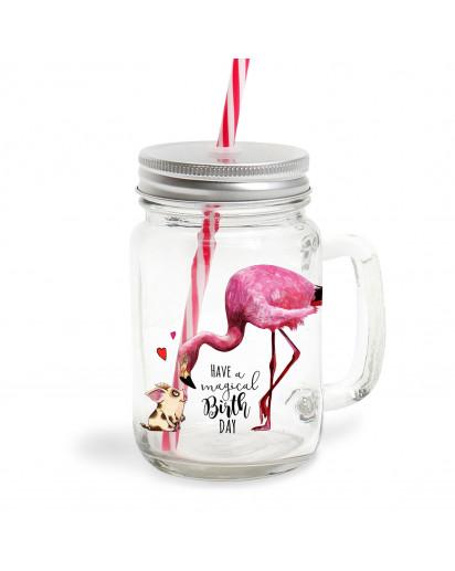 Mason Jar Trinkglas Flamingo & Schweinchen magical birthday Trinkbecher Geschenk bedruckt mit Deckel & Trinkhalm sg08