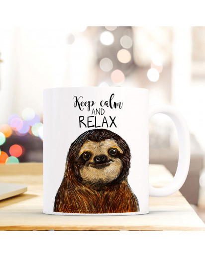 Tasse Becher Faultier mit Spruch keep calm and relax ts410