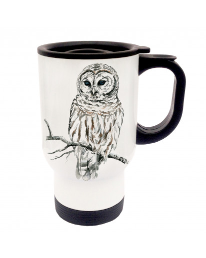 Tasse Becher Thermotasse Thermobecher Thermostasse Thermosbecher Eule Schneeeule Kauz cup mug thermo mug thermo cup owl snow owl codger tb022