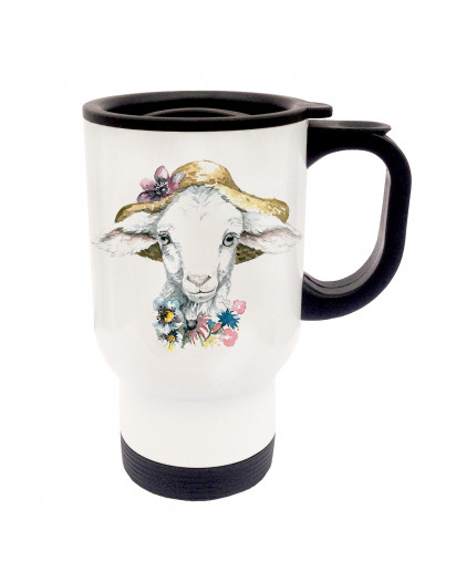 Tasse Becher Thermotasse Thermobecher Thermostasse Thermosbecher Lamm Lämmchen Schaf mit Hut und Blumen cup mug thermo mug thermo cup lamb sheep with hat and flowers tb024