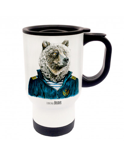 Tasse Becher Thermotasse Thermobecher Thermostasse Thermosbecher Bär Matrose Kaptain Seebär mit Spruch Lieblingsbruder cup mug thermo mug thermo cup bear sailor captain sea dog with saying favourite brother tb034