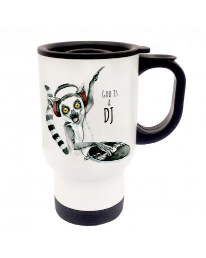 Tasse Becher Thermotasse Thermobecher Thermostasse Thermosbecher DJ Lemur Diskjockey mit Spruch God is a DJ Affe cup mug thermo mug thermo cup DJ Lemur diskjockey monkey with saying  god is a dj tb036