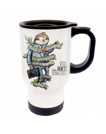 Thermobecher Thermotasse Thermosbecher Thermostasse Becher Tasse Faultier mit Spruch voll in Arbeit verwickelt thermo cup thermo mug thermal cup thermal mug sloth with saying fully involved in work tb050