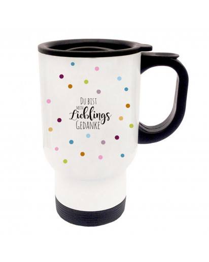 Thermobecher Thermotasse Thermosbecher Thermostasse Becher Tasse bunte Punkte Konfetti mit Spruch Du bist mein Lieblingsgedanke thermo cup thermo mug thermal cup thermal mug colorful dots confetti with saying you are my favourite thought tb054