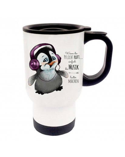 Thermobecher Thermotasse Thermosbecher Thermostasse Pinguin mit Kopfhörer und Spruch wenn die Pflicht ruft... thermo cup thermo mug thermal cup thermal mug penguin with headphones and saying when the duty calls... tb056