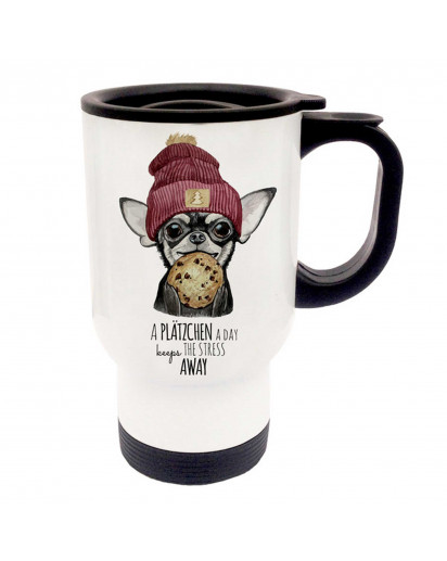 Thermobecher Thermotasse Thermosbecher Thermostasse Becher Tasse Hund mit Cookie Keks und Spruch a Plätzchen a day... thermo cup thermo mug thermal cup thermal mug dog with cookie biscuit and saying a Plätzchen a day... tb057