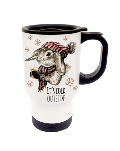 Tasse Becher Thermotasse Thermobecher Thermostasse Thermosbecher Kaninchen Häschen mit Spruch it's cold outside cup mug thermo mug thermo cup rabbits bunny with saying it's cold outside tb21