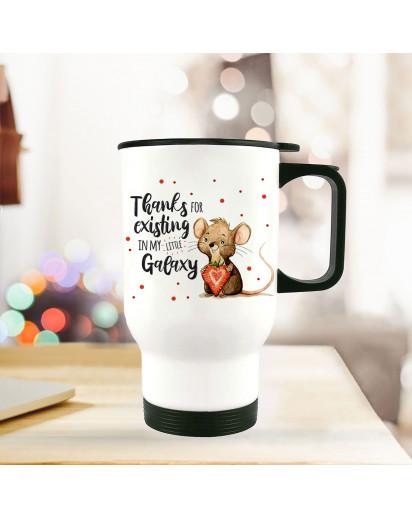 Thermobecher Isolierbecher bedruckt mit Maus Mäuschen Herzbeere Spruch Thanks for existing... Kaffeebecher Geschenk tb220
