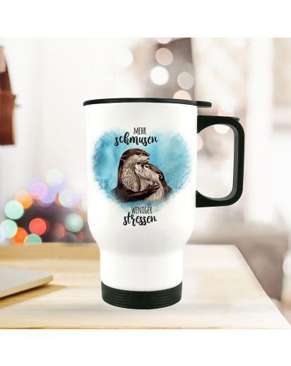 Thermobecher Isolierbecher bedruckt mit Otter Pärchen blau Spruch Mehr schmusen weniger stressen Kaffeebecher Geschenk tb221