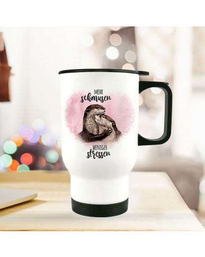 Thermobecher Isolierbecher bedruckt mit Otter Pärchen rosa Spruch Mehr schmusen weniger stressen Kaffeebecher Geschenk tb222