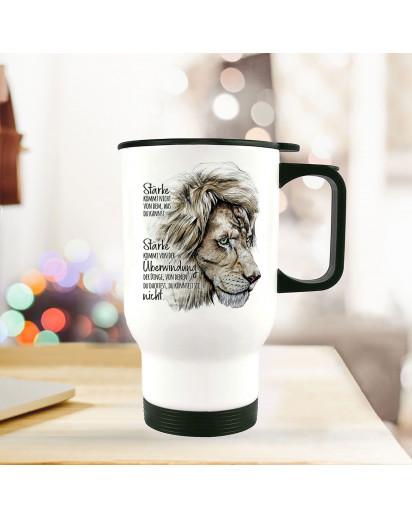 Thermobecher Isolierbecher Löwe Löwenkopf Spruch Stärke kommt von Überwindung Kaffeebecher Geschenk tb236