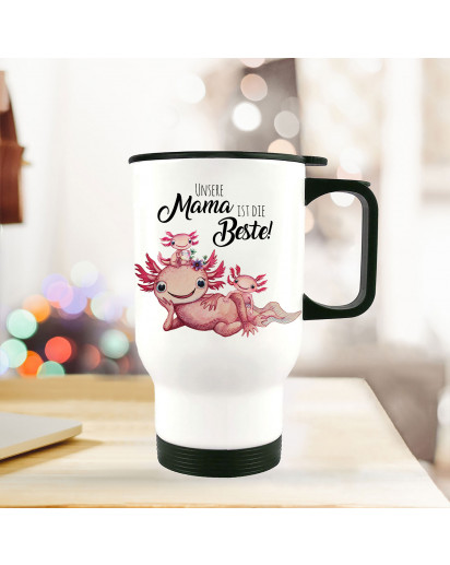 Thermobecher Isolierbecher Axolotl mit Kinder Spruch Unsere Mama ist die Beste Kaffeebecher Geschenk tb237