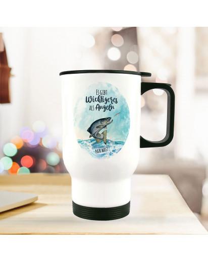 Thermobecher Isolierbecher Meerforelle Lachsforelle Fisch Spruch Es gibt Wichtigeres als angeln Kaffeebecher Geschenk tb254