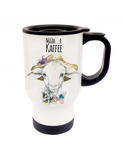 Tasse Becher Thermotasse Thermobecher Thermostasse Thermosbecher Lamm Lämmchen Schaf mit Spruch Määh…r Kaffee cup mug thermo mug thermo cup lamb sheep with saying mooh...re coffee tb32