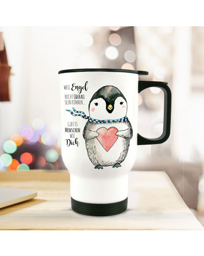 Thermobecher Thermotasse Thermosflasche Becher Tasse Pinguin mit Herz und Spruch Menschen wie dich...tb061Thermo cup penguin with heart and quote saying people like you...tb061