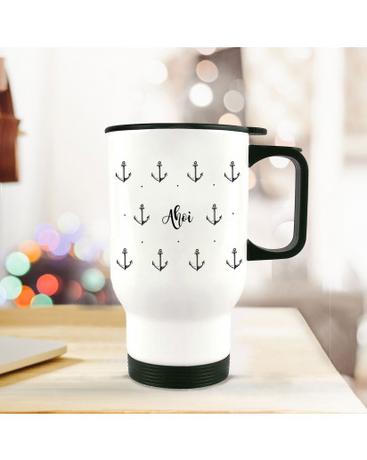 Thermobecher Thermotasse Thermosflasche Becher Tasse Kaffeebecher Anker mit Punkten und Spruch ahoi thermo cup thermal mug cup mug anchor with dots and quote saying ahoi tb066.jpg