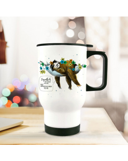Thermobecher Thermotasse Thermosflasche Becher Tasse Kaffeebecher Faultier mit Spruch Eigentlich hatte ich heute so viel vor thermo cup thermal mug cup mug sloth with quote saying actually i planned so much for today tb069.jpg