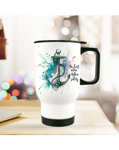 Thermobecher Thermotasse Thermosflasche Becher Tasse Anker Aquarell mit Spruch du bist mein Ankerplatz thermo cup anchor water color with quote saying you are my anchorage tb075.jpg