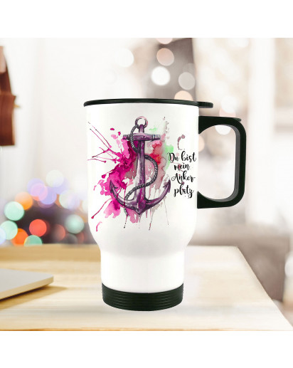 Thermobecher Thermotasse Thermosflasche Becher Tasse Anker Aquarell mit Spruch du bist mein Ankerplatz thermo cup anchor water color with quote saying you are my anchorage tb076.jpg