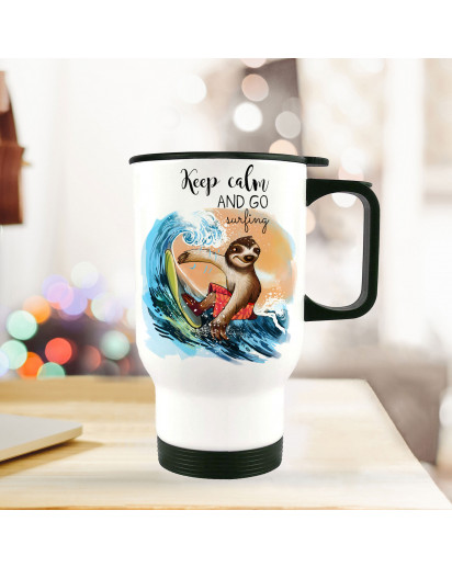 Thermobecher Thermotasse Thermosflasche Becher Tasse Faultier Surfer mit Spruch keep calm and go surfing thermo cup sloth surfer with quote saying keep calm and go surfing tb077.jpg