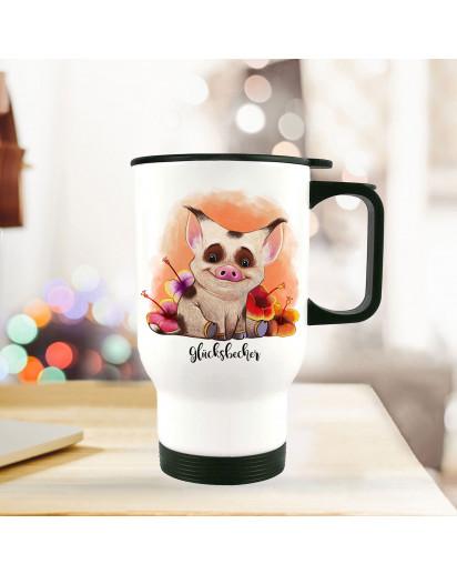 Thermobecher Thermotasse Thermosflasche Kaffeebecher Becher Tasse Schweinchen mit Spruch Glücksbecher thermo cup piggy piglet with quote saying happiness mug tb082.jpg