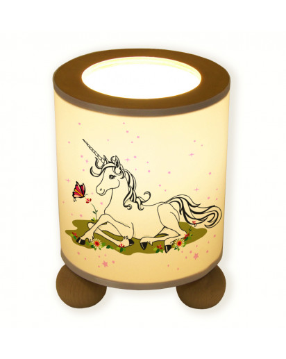 Hauptbild Tischlampe Einhorn auf Wiese Schmetterling Wunschname table lamp unicorn on meadow butterfly desired name