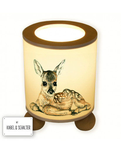 Hauptbild Tischlampe liegendes Reh Rehkitz Wunschname table lamp lying deer fawn desired name