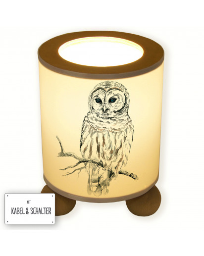 Tischlampe Eule Uhu auf Zweig table lamp owl owl on branch tl027