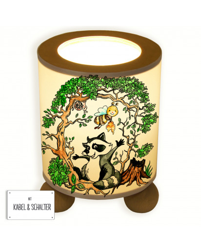 Tischlampe Waschbär und Biene im Wald table lamp racoon and bee in the forest tl040